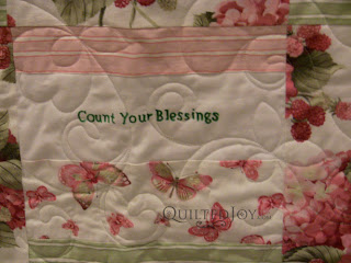 Comfort Words Quilt with Pretty Posie Pantograph - QuiltedJoy.com