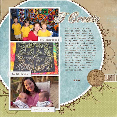 Angela's scrapbook page, featuring the kidlets
