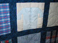 Memorial workshirt quilt, quilted by Angela Huffman