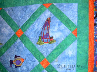 Fay's Lighthouse Quilt, quilted by Angela Huffman