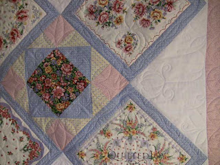 Nonnie's Hankie Quilt, quilted by Angela Huffman