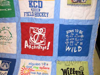 Sentimental T-shirt quilt, quilted by Angela Huffman
