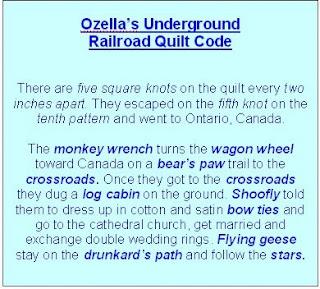 Underground Railroad Quilt Code