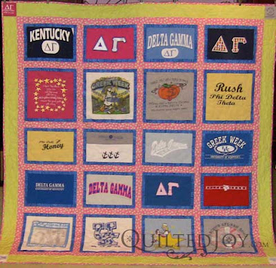 Theresa's T-Shirt Memory quilt, quilted by Angela Huffman
