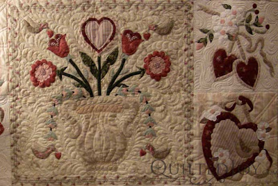 Bettye's Vintage Valentine, quilted by Angela Huffman