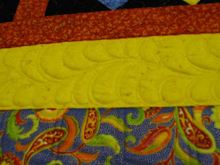 No Stress Feathers on Card Trick Quilt, quilted by Angela Huffman