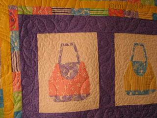 Adorable paper pieced purses, custom quilting by Angela Huffman - QuiltedJoy.com