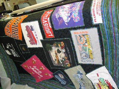Love the unique layout for the T-Shirts on this quilt! With quilting by Angela Huffman - QuiltedJoy.com