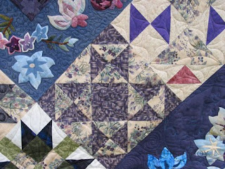 Purple Beauty Sampler Quilt, with custom quilting by Angela Huffman - QuiltedJoy.com