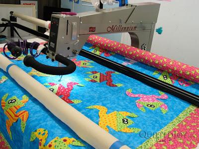 Karen's Frog Hop Quilt on the APQS Millennium - QuiltedJoy.com