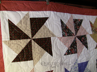 Pinwheel Quilt with Lime Tree Pantograph, quilting by Angela Huffman - QuiltedJoy.com