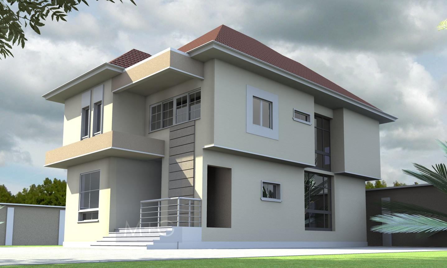 Stylish two bedroom duplex spreading design ideas for house for Modern duplex house plans in nigeria