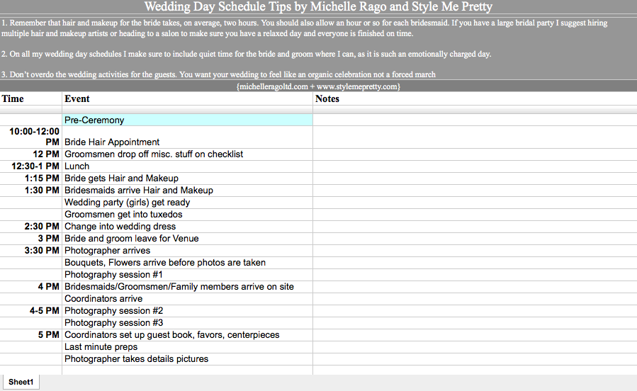 Wedding Day Schedule Template best photos of day of event – Event Timeline Sample