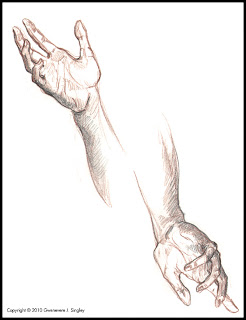 Life drawing for Flight and Fetters - captive's hands