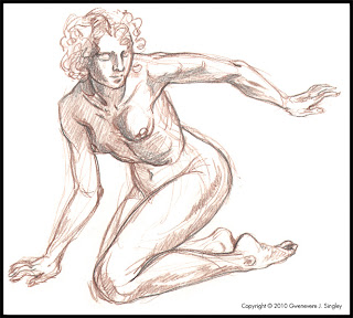 Life drawing for Flight and Fetters - Escapee in the background