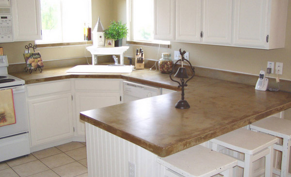 Concrete Sinks inside the Kitchen, Intergrated Concrete Counter Sinks - Concrete Kitchen Countertops