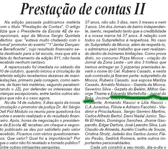 Jornalista Eduardo C M é citado no Jornal da Zona Leste