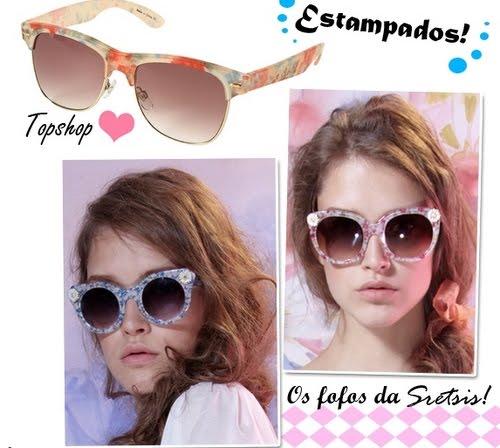7c3a181d294ef Os óculos estampados tem inspiração clara nos anos 60, 70 e 80. A marca Ray  Ban investiu recentemente em uma coleção estampada e colorida.