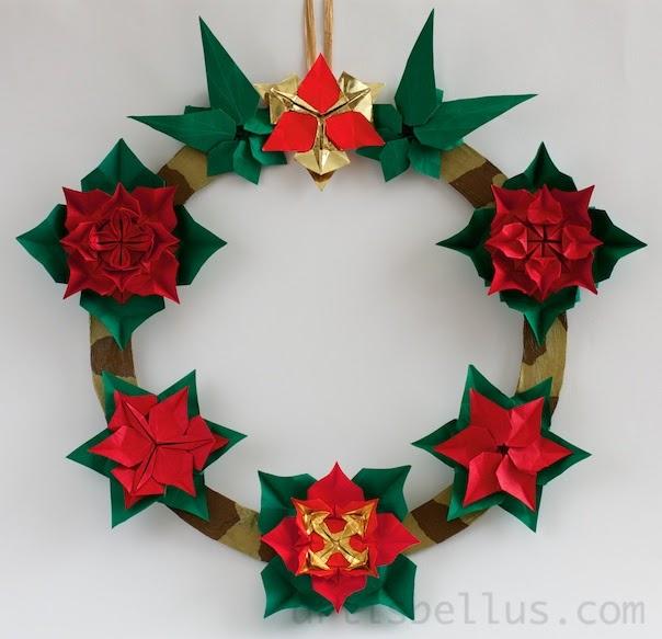 Christmas Wreath - New Poinsettia Model | Origami - Artis Bellus - photo#12