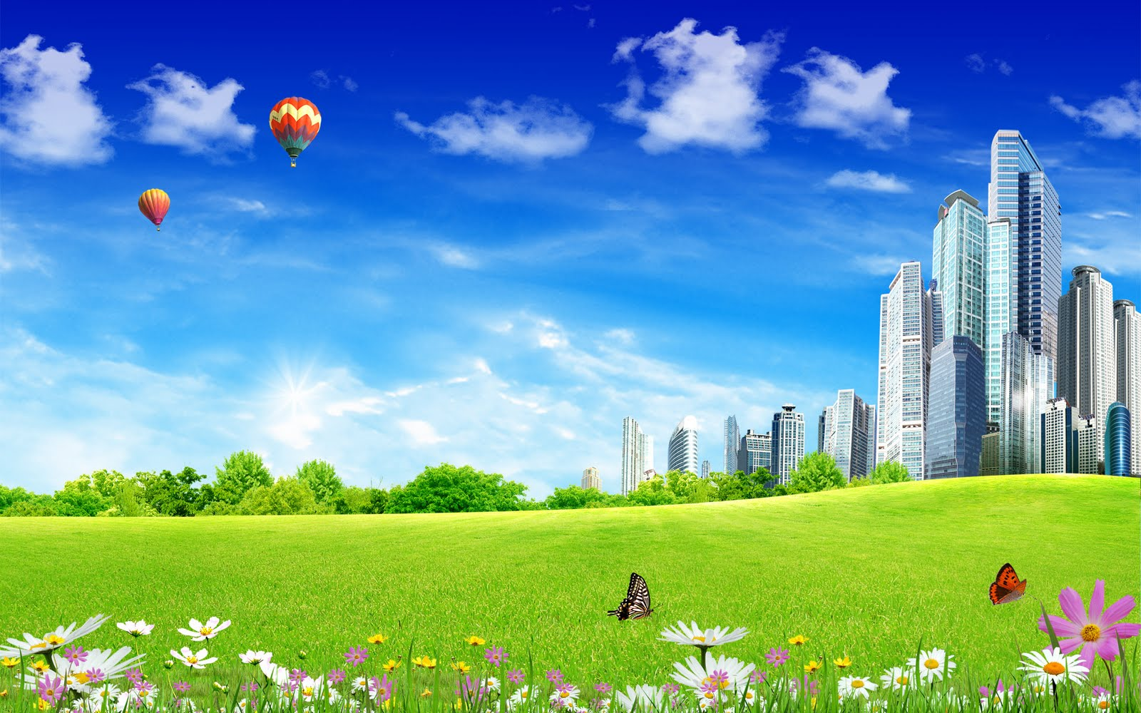 Pleasant Green Amp Sky Background Wallpapers