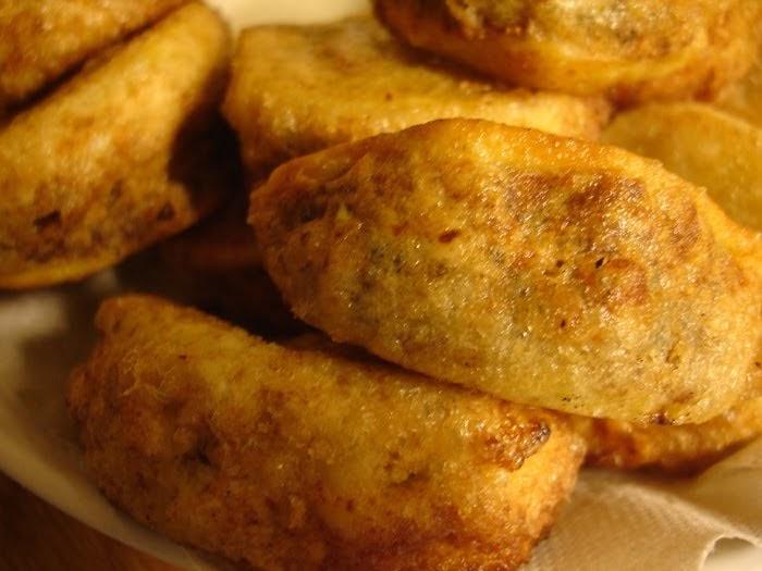 Libyan Food Fried Potato Wedges Stuffed With Minced Meat