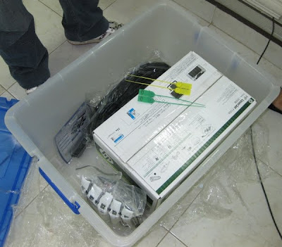 cables and printer box