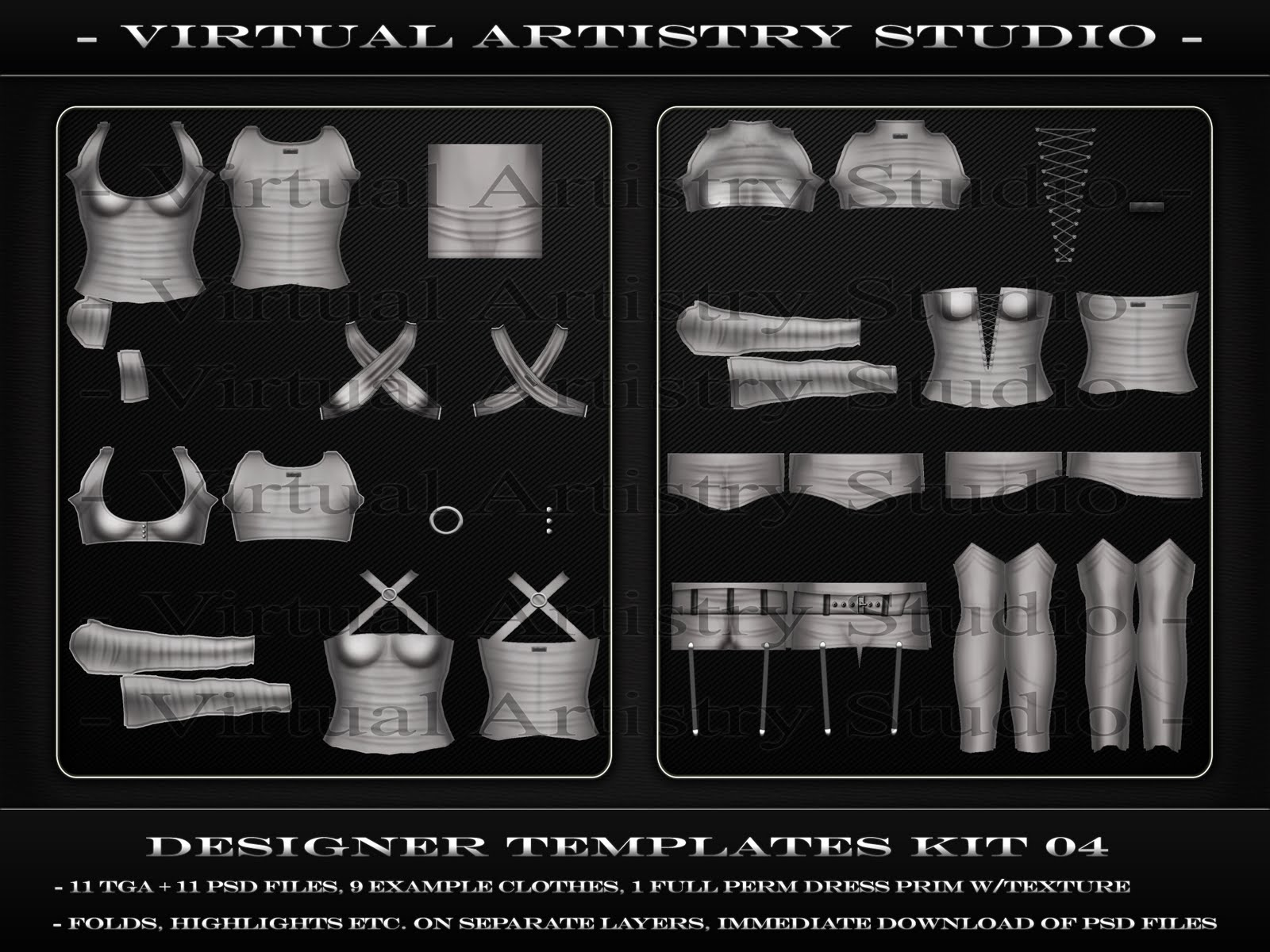 Virtual artistry studio designer templates kit 04 for Second life templates for gimp