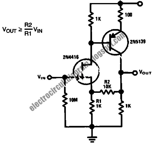 Electro Circuit Diagram: Low Capacitance High Impedance