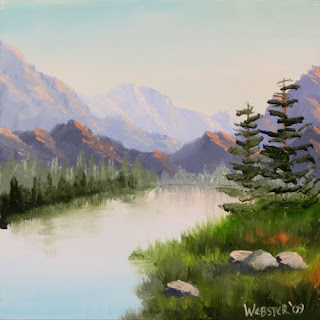 Daily Painters - Mountain River Overture Landscape Painting - Daily Painter - Original Oil and Acrylic Art - Painting a Day by California Artist Mark A. Webster