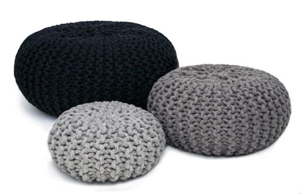 knit kit grobmaschiger pouf. Black Bedroom Furniture Sets. Home Design Ideas