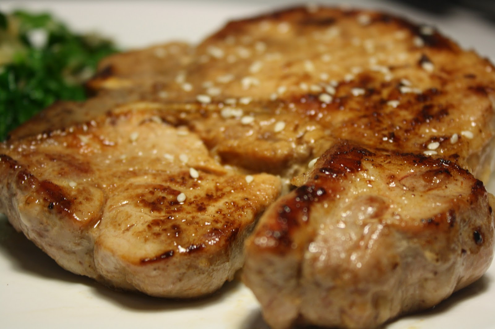 Sriracha Marinated Pork Chop With Asian Kale   The Carnivore And The
