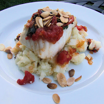Roasted Halibut over a Potato Bed from Savoire Faire