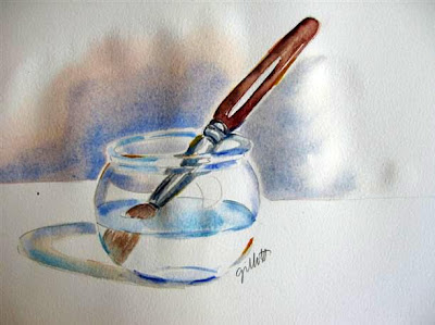 Watercolor painted with Paris tap