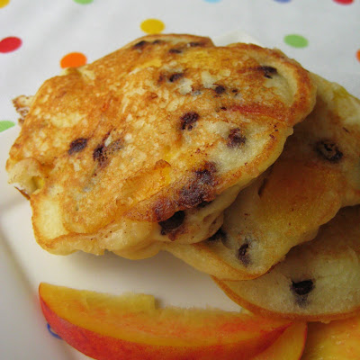 Pancakes with Peaches and Chocolate Chips