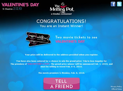 Melting Pot Valentines Day 2010 Movie Sweepstakes winner screenshot