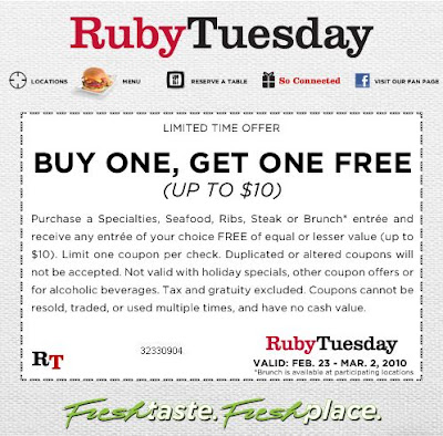 graphic regarding Ruby Tuesdays Coupons Printable identified as Ruby tuesday discount coupons 2018 / Club monaco university student price reduction code