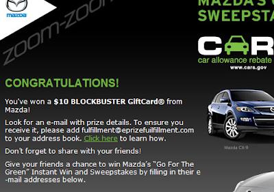 Mazda instant winner