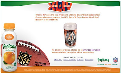 Tropicana Ultimate Super Bowl Experience Sweepstakes Winner