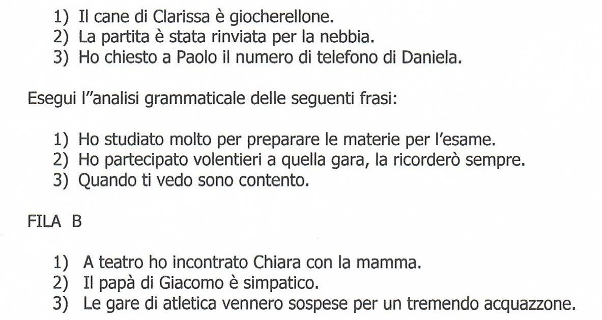 Linsupptran Esercizi Di Analisi Logica Con Soluzioni Scuola
