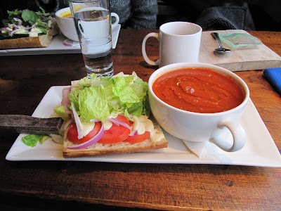 Burgoo Soup and Sandwich Combination: Straight Up Tomato Soup and the Ham and Brie Sandwich