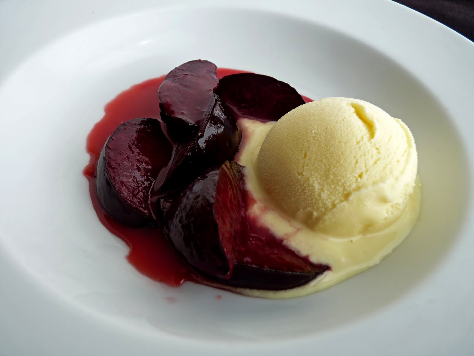 Pastry Studio Ginger Ice Cream With Plums In Caramel