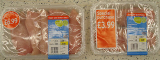 Sainsburys packs of chicken breasts - side by side