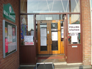 Polling station at Brownlee Primary School in Lisburn, with the wonky ramp