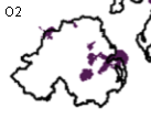 Ofcom's map of 3G coverage in Northern Ireland at the end of 2008 - O2