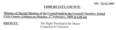 Snippet of Lisburn City Council minutes ... a scan published as a PDF