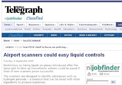 Belfast Telegraph online headline - Airport scanners could easy liquid controls