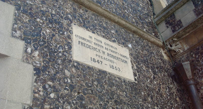 Plaque on wall of church in Brighton