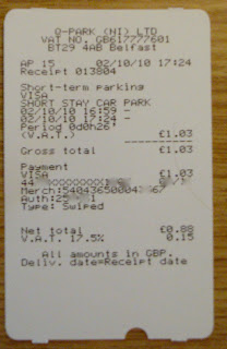 Parking receipt showing credit card surcharge from Belfast City Airport