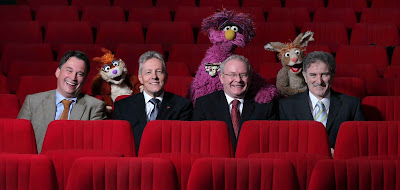 Launch of the second series of Sesame Tree - Darren Kidd/Presseye.com - Pictured with Hilda, Potto and Archie from Sesame Tree are from left to right: Richard Williams, Chief Executive Northern Ireland Screen; Peter Robinson, First Minister; Martin McGuinness, Deputy First Minister; and Denis Rooney CBE, Chairman, International Fund for Ireland.