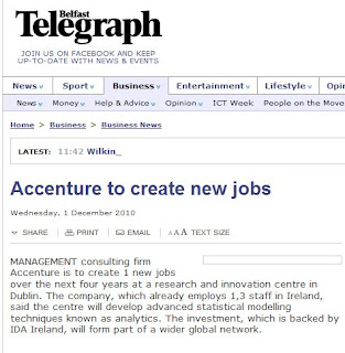 snippet from Belfast Telegraph website article about Accenture creating jobs in Dublin